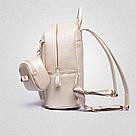 Рюкзак женский набор с кошельком большой бежевый., фото 3