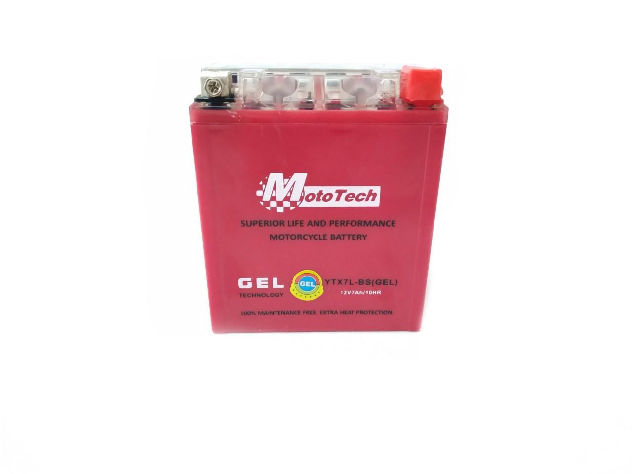 Аккумулятор 7A 12V (YTX7A-BS) MOTOTECH гелевий ВИСОКИЙ 110x67x132