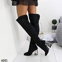 Женские замшевые сапоги  ботфорды на каблуке, фото 1