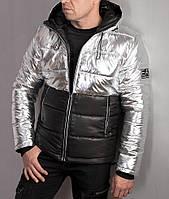 Зимняя стильная мужская куртка Armani  EA7 серебристая с черным