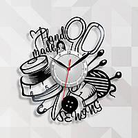 Часы для мастера шитья Винтажные часы Шитье на часах Sewing Часы в салон Виниловый декор Хенд мейд часи 30 см