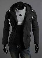 Мужская куртка из коттона черная удлиненная с капюшоном