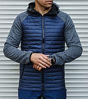 Мужская стеганная куртка с рукавами и капюшоном - вязка