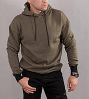 Мужская теплая толстовка Oversize с капюшоном, цвета хаки