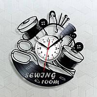 Часы для салону шитья Виниловые часы Ножницы на часах Sewing Часы в магазин Хендмейд часи Настенные часы