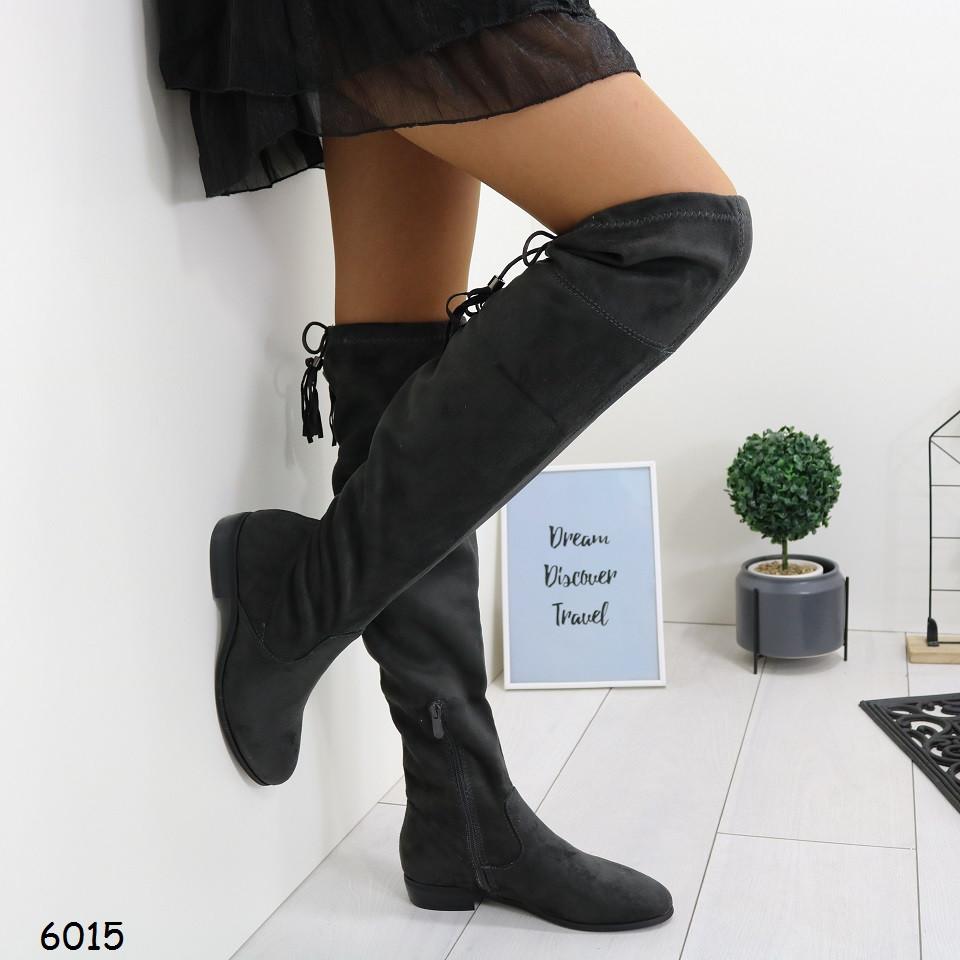 Женские серые замшевые сапоги ( бофторды) на низком каблуке