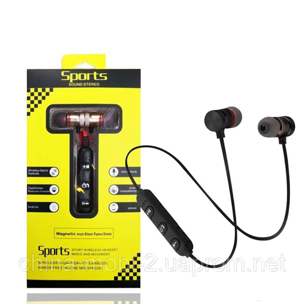 Sports Sound Headset магнитные bluetooth наушники гарнитура с FM MP3, черные с красным