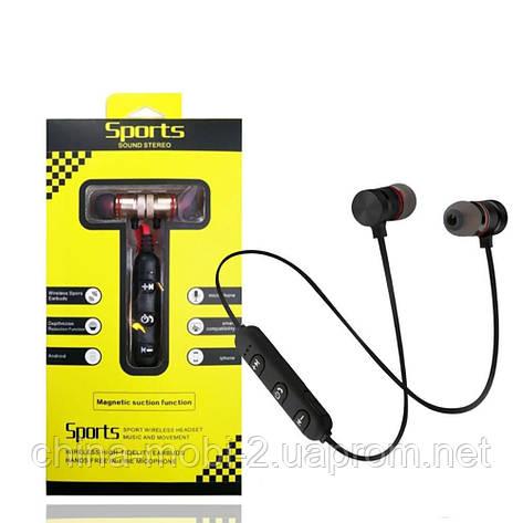 Sports Sound Headset магнитные bluetooth наушники гарнитура с FM MP3, черные с красным, фото 2