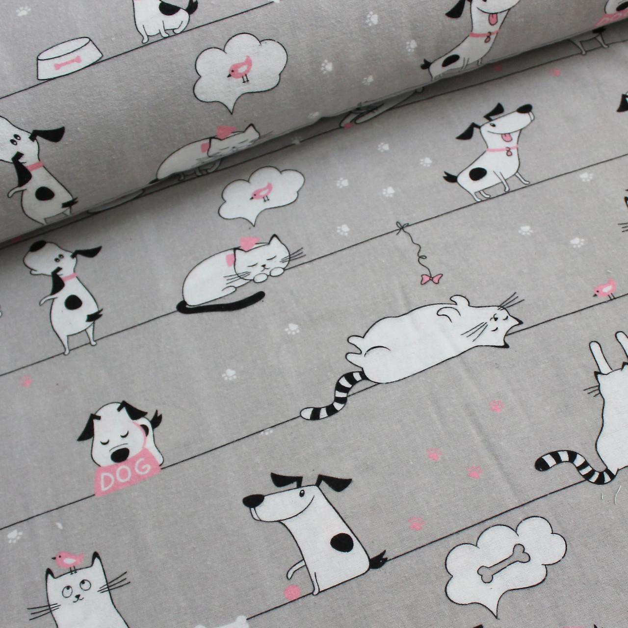 Фланелевая ткань белые котики и собачки на светло сером