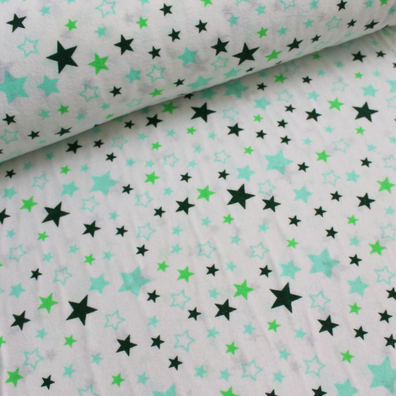 Фланелевая ткань зелено-мятный звездопад