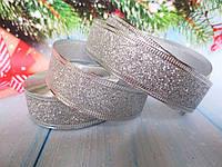 Новогодняя лента с проволочным краем, цвет серебристый, 2,5 см