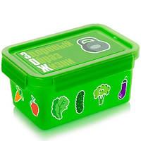 """Ланч - бокс детский для еды """"Здоровый образ жизни"""" 850мл, зеленый, пластик, контейнер для еды, коробка для еды, ланчбокс"""