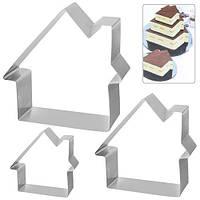 """Кольца для торта Stenson """"Дом"""" в наборе 3шт, размер 21х21х5см, металл, формы для выпечки, металлическая форма"""