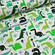 Фланелевая ткань зеленые динозавры на белом, фото 4