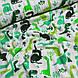 Фланелевая ткань зеленые динозавры на белом, фото 2