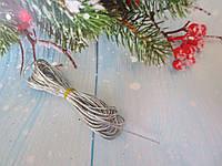 Шнур люрексовый с наполнителем, d 1 мм, цвет серебристый, 5 м