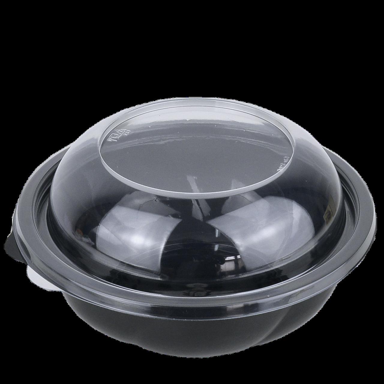 Контейнер с крышкой черный (плотный) круглый 194*65мм,1000 мл,(75 шт в уп.)