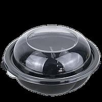 Контейнер с крышкой черный (плотный) круглый 194*65мм,1000 мл,(75 шт в уп.), фото 1
