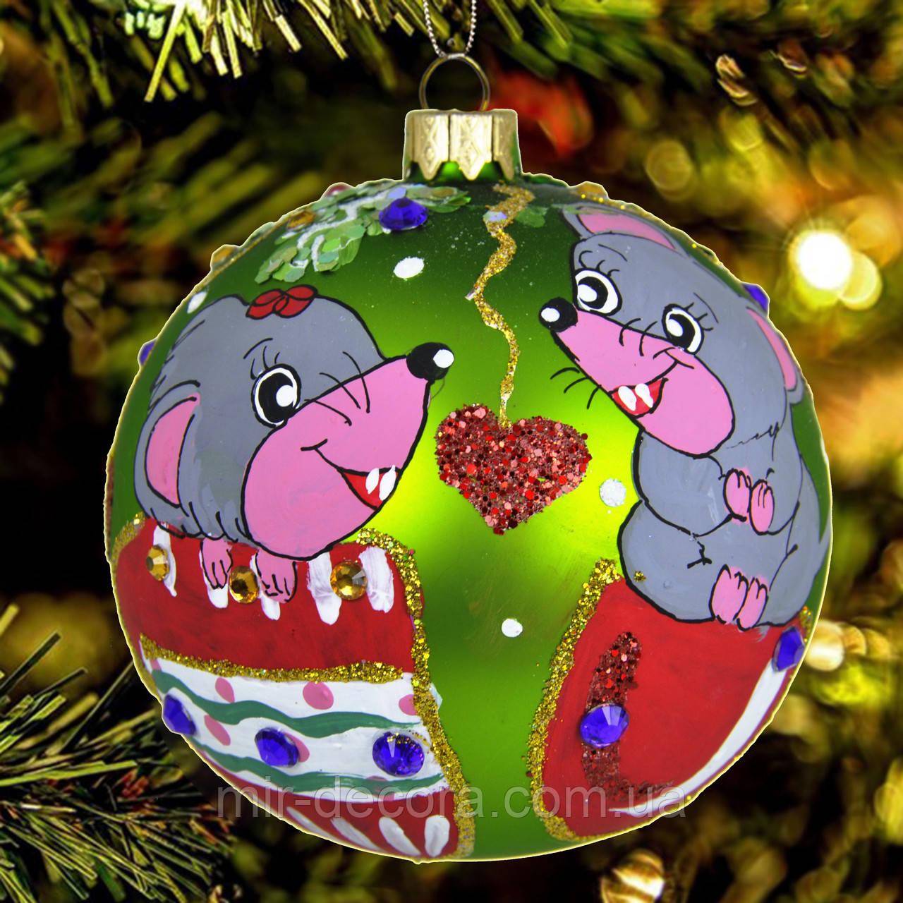 """Новогодняя игрушка """"Мышки в варежках"""" 100 мм"""