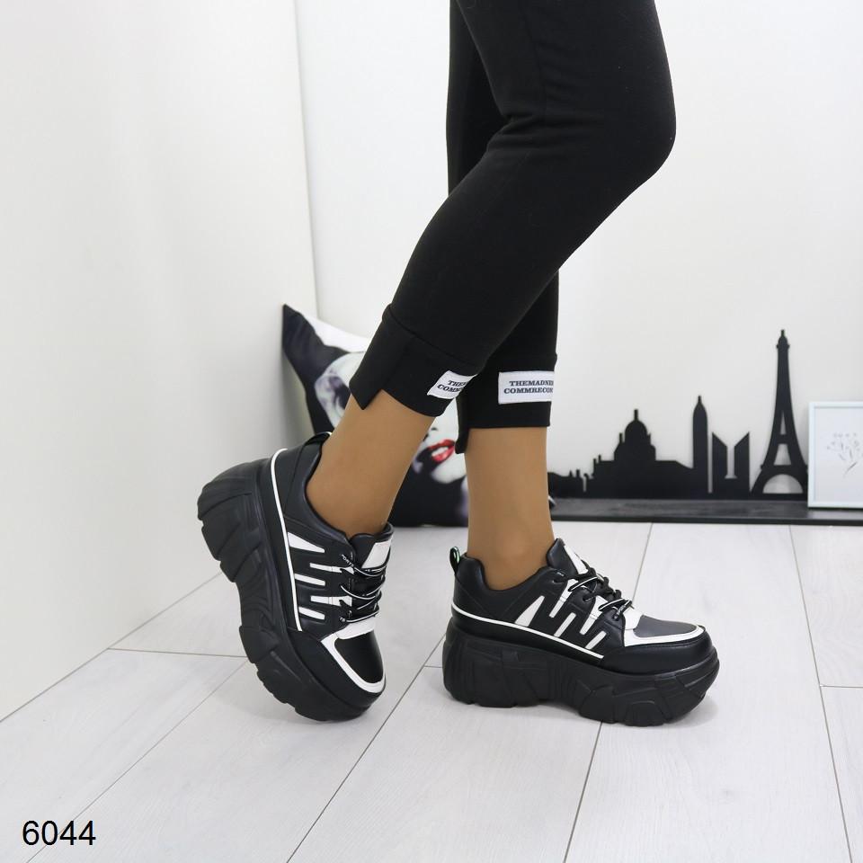 Женские черно-белые кроссовки на платформе, А 6044
