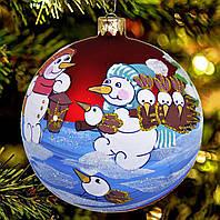 "Стеклянный шар на елку ""Снеговики и птички"" 80 мм"