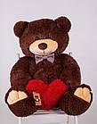 Мишка с сердечком Yarokuz Джон 110 см Шоколадный, фото 2