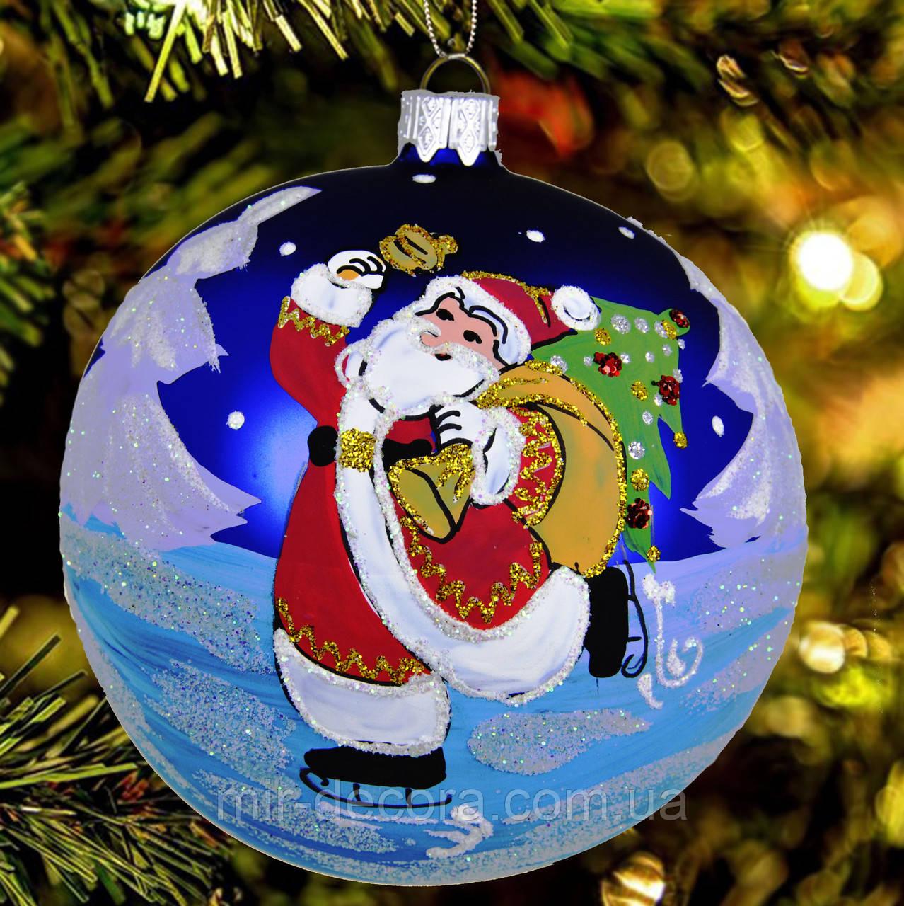 """Шар на елку """"Дед Мороз на коньках"""" 100 мм"""