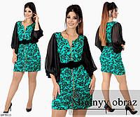 Коктейльное мини платье на молнии с поясом размеры 48-54 арт 254