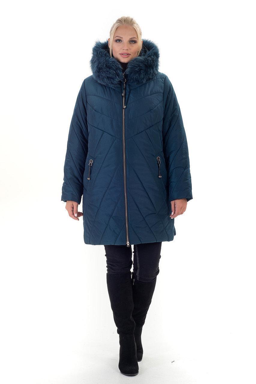 Зимняя женская куртка с натуральным мехом песца, размеры 56-70