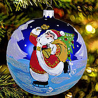 """Новогодний стеклянный шар """"Дед Мороз на коньках"""" 80 мм"""