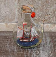 Парусник в бутылке (9,5*6,5*6,5 см.)