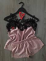 Бежевая пижама с черным кружевом 015-штапель, хлопковые пижамы.