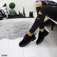 Женские замшевые туфли на шнуровке и низком каблуке, фото 1