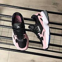 Женские кроссовки Адидас черно-розовые Adidas Falcon black / pink