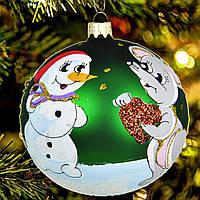"""Новогодняя игрушка """"Мышка и снеговик"""" 100 мм"""