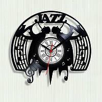 Часы с нотным станом Часы с саксофоном Джаз группа Часы в гостиную Часы с винила Стиль джаз Ноты на часах