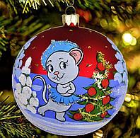 """Стеклянная игрушка на елку """"Мышка Снегурочка"""" 80 мм"""