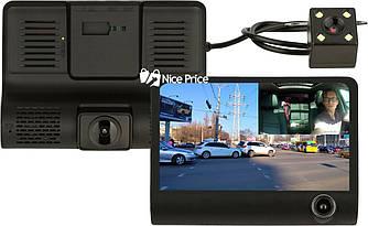 Автомобильный видеорегистратор UKC SD319 Full HD 1080P 3 камеры Black (4418)