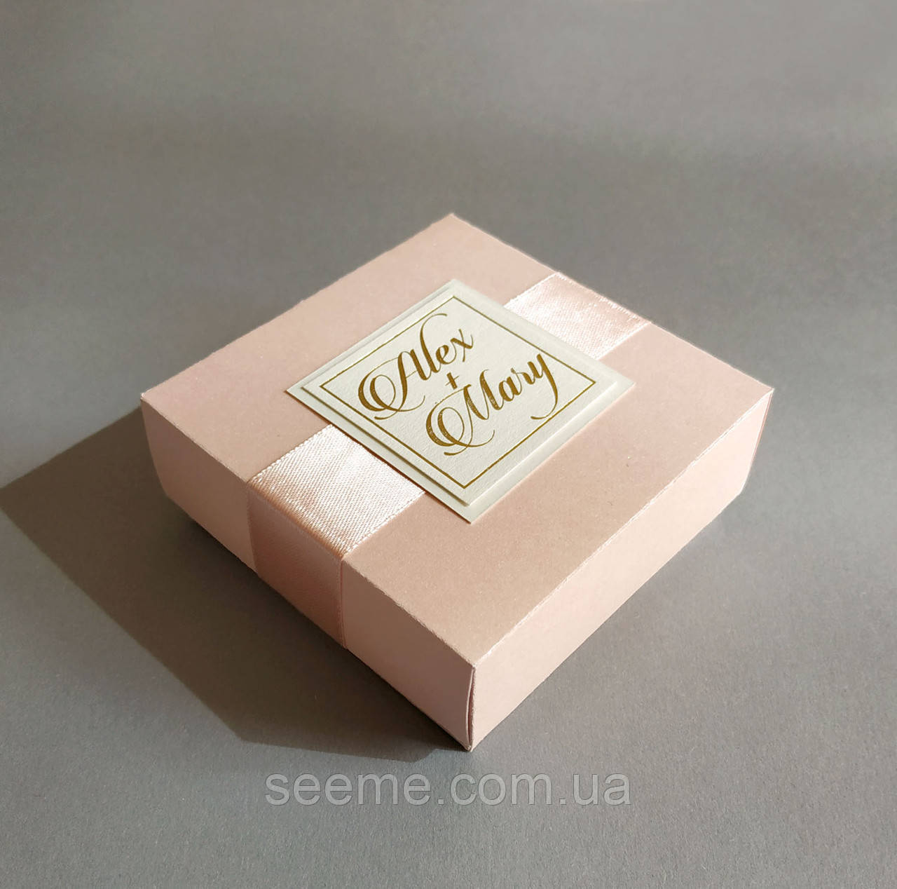 Коробка подарункова 85x85x35 мм, перламутровий колір персиковий