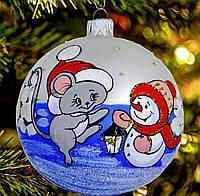 """Стеклянная игрушка на елку """"Мышка в шапочке"""" 80 мм"""