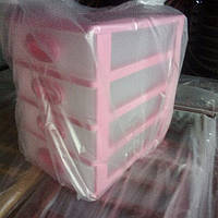 Комод мини 4 яруса цвет - цвет -  розовый