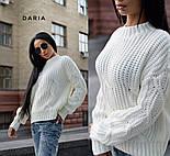 Женский теплый качественный свитер крупной вязки (разные цвета), фото 5