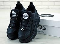 Кроссовки Buffalo женские, черные, на высокой подошве, натуральная кожа, код KD-11955