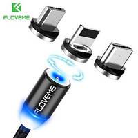 Магнитный кабель Floveme3в 1 microUSB iPhone Type C Magnetic 1m