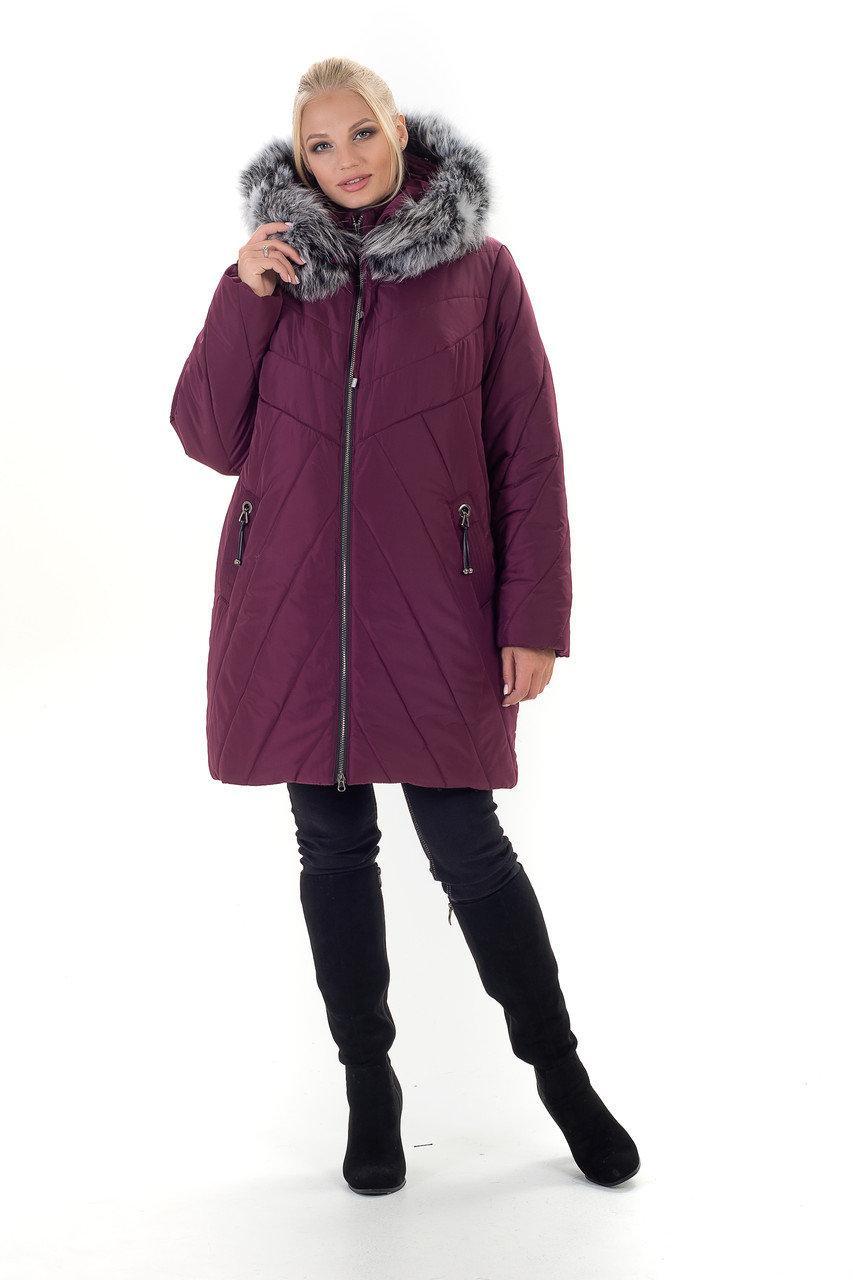 Зимняя женская куртка с натуральным мехом, размеры 56-70