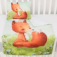 """Плед и подушка с цифровой печатью """"Лисичка на поляне"""" салатово-белого цвета"""