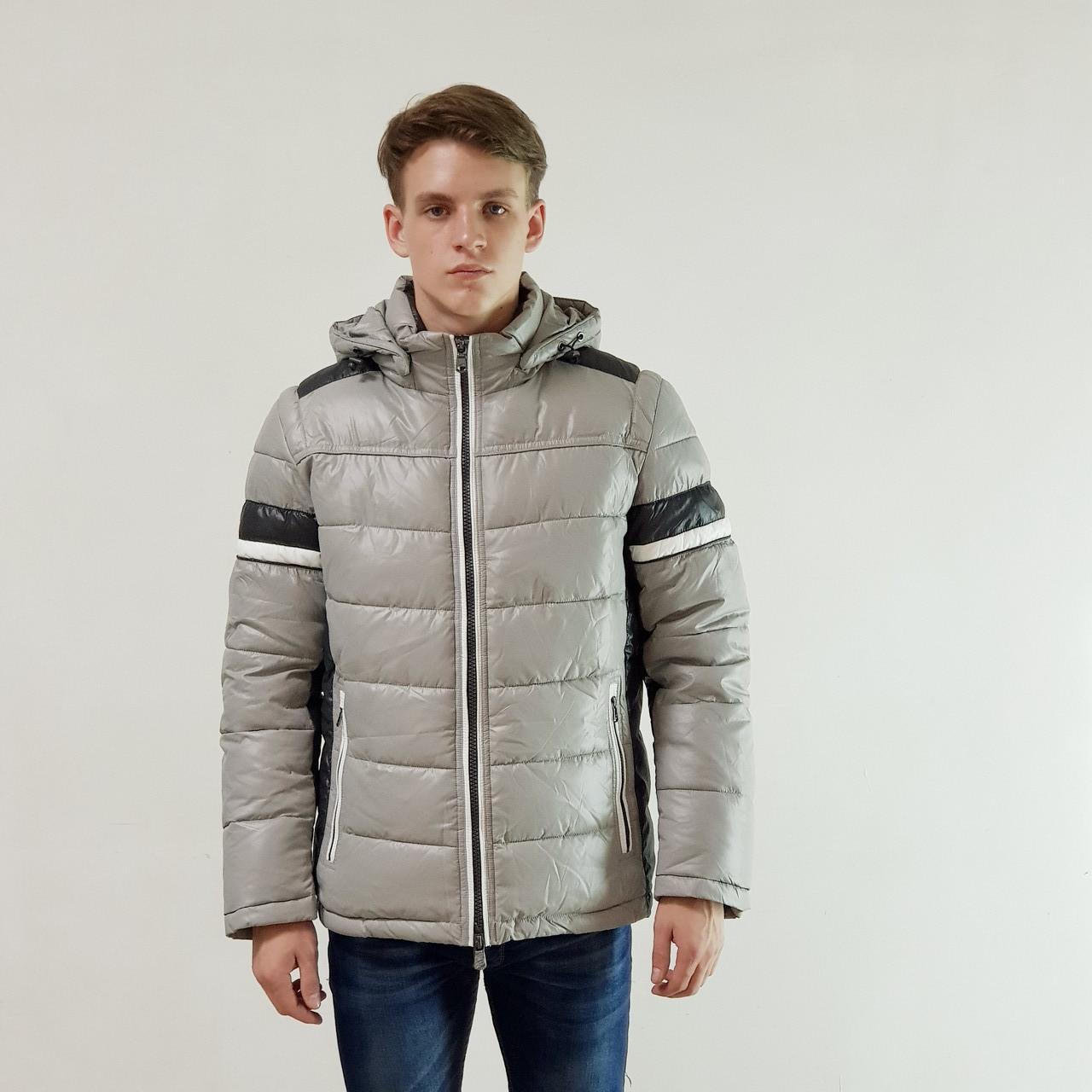Мужская зимняя куртка пуховик Snowimage  светло-серый на пуху с капюшоном, скидки