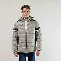 Мужская зимняя куртка пуховик Snowimage  светло-серый на пуху с капюшоном, скидки, фото 1