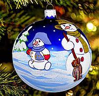 """Новогодний стеклянный шар """"Снеговички"""" 80 мм"""