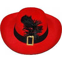 Капелюх мушкетери з пером 56-58 см L червона